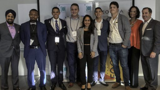 FSU senior Hannah King competed against five other teams of student-entrepreneurs from around Florida and won the statewide competition. Now, she heads to the National Finals in Denver. Adam Serota, on King's right, took second place.
