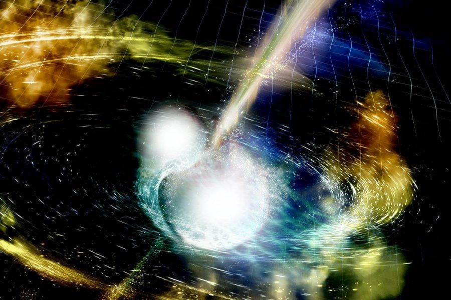 In 2017, gravitational waves were detected from the collision of two neutron stars. This figure, related to Piekarewicz's work, shows an artist's conception of such a cataclysmic event, which in this new era of gravitational-wave astronomy provides fundamental new insights into the nature of neutron stars.