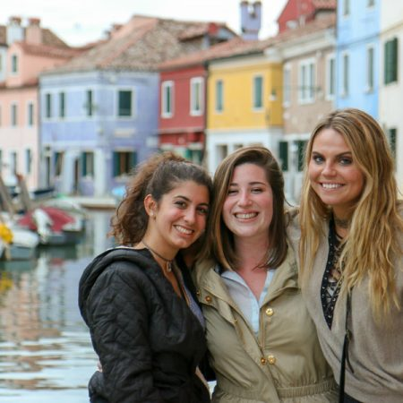 Rozsa Gomory (center) visited Burano, an island of Venice in Italy, with friends Daisy Adkins (right) and Alessandra Cruz during their study-abroad experience. (Photo: Rozsa Gomory)