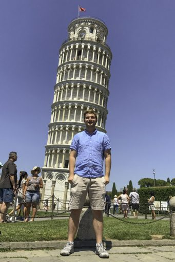Scott Flint studied in the U.K. and Valencia, Spain, during his freshman year and took advantage of opportunities to travel in the region, which included a trip to the Leaning Tower of Pisa in Italy.