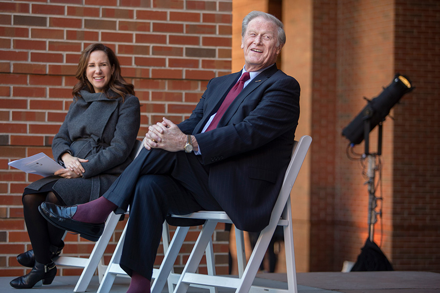 Vice President for Student Affairs and President John Thrasher at a ceremony dedicating the Health and Wellness Center in honor of Mary B. Coburn Friday, Nov. 16, 2018. (FSU Photography Services)