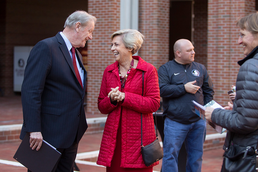President John Thrasher and Mary B. Coburn at a ceremony dedicating the Health and Wellness Center in her honor Friday, Nov. 16, 2018. (FSU Photography Services)