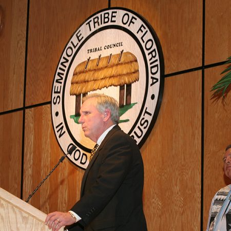 Wetherell speaks at a Seminole Tribe Hall of Fame event in 2006.