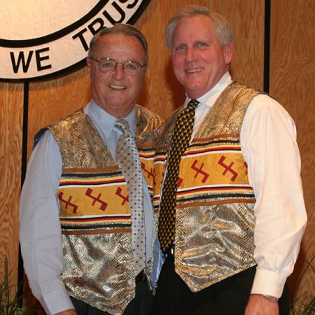 Former FSU football coach Bobby Bowden and Wetherell at a Seminole Tribe Hall of Fame event in 2006.