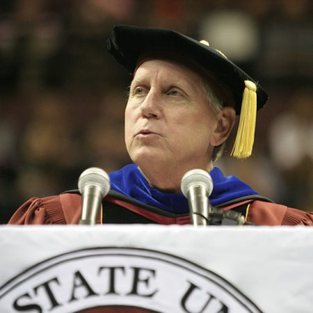 Wetherell presides over Florida State University commencement.