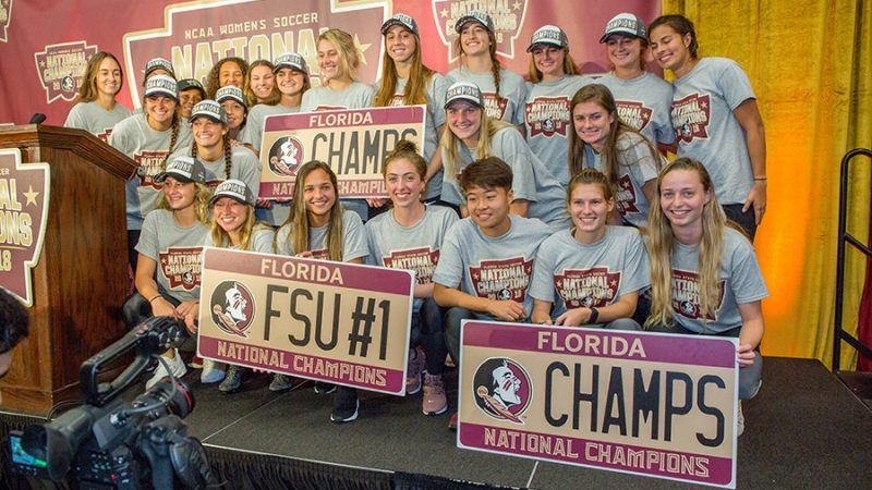 FSU NCAA Soccer Championship Celebration Dec. 3, 2018. (FSU Photography Services)