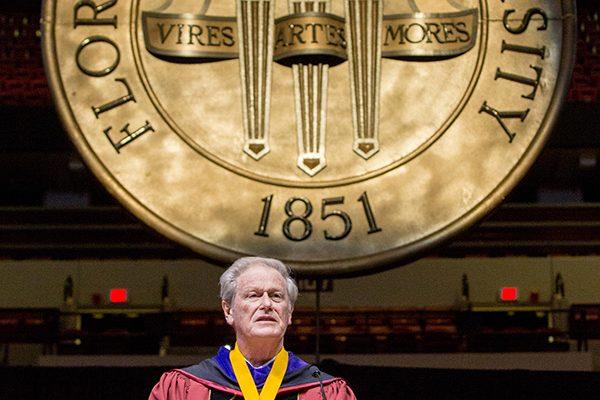 President John Thrasher presides over Florida State University fall commencement Dec. 14, 2018. (FSU Photography Services)