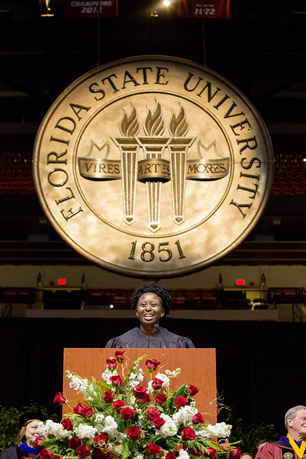 Student Body President Stacey Pierre speaks at Florida State University fall commencement Dec. 14, 2018. (FSU Photography Services)