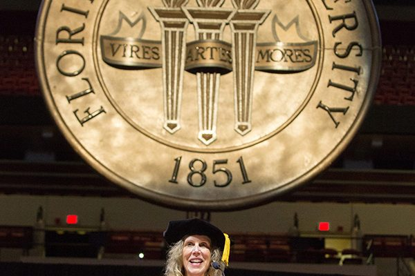 Pamela Perrewé, the 2018-2019 Robert O. Lawton Distinguished Professor, delivered the commencement address at Florida State University fall commencement Dec. 14, 2018. (FSU Photography Services)
