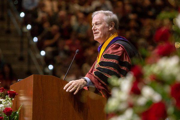 President John Thrasher presides over Florida State University fall commencement Dec. 15, 2018. (FSU Photography Services)