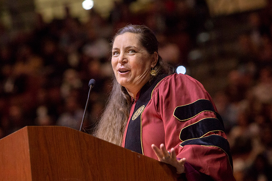FSU softball coach Lonni Alameda speaks at Florida State University fall commencement Dec. 15, 2018. (FSU Photography Services)