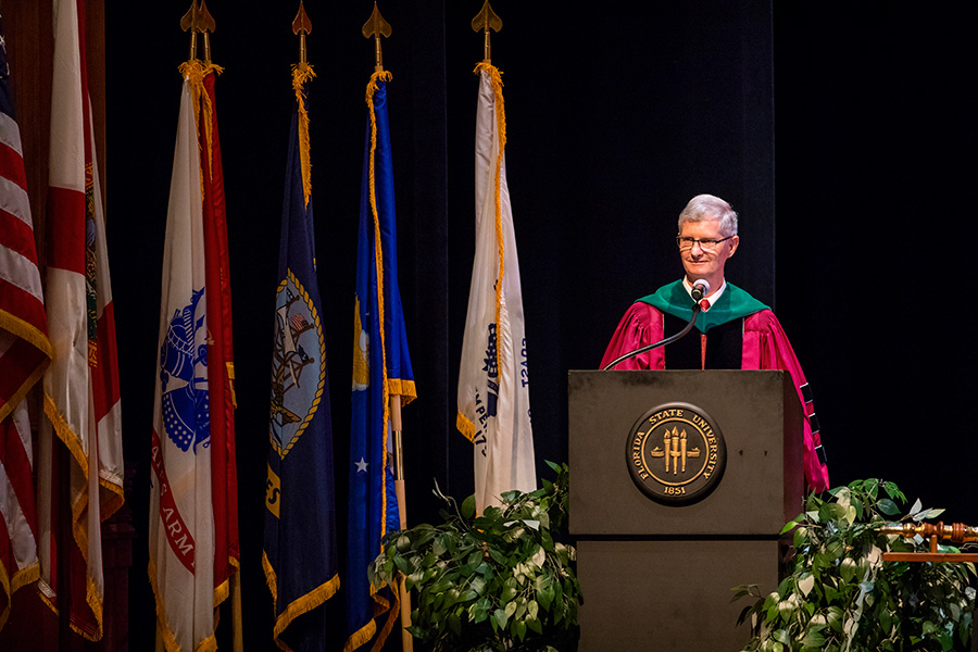 Dean Fogarty presides over College of Medicine commencement.