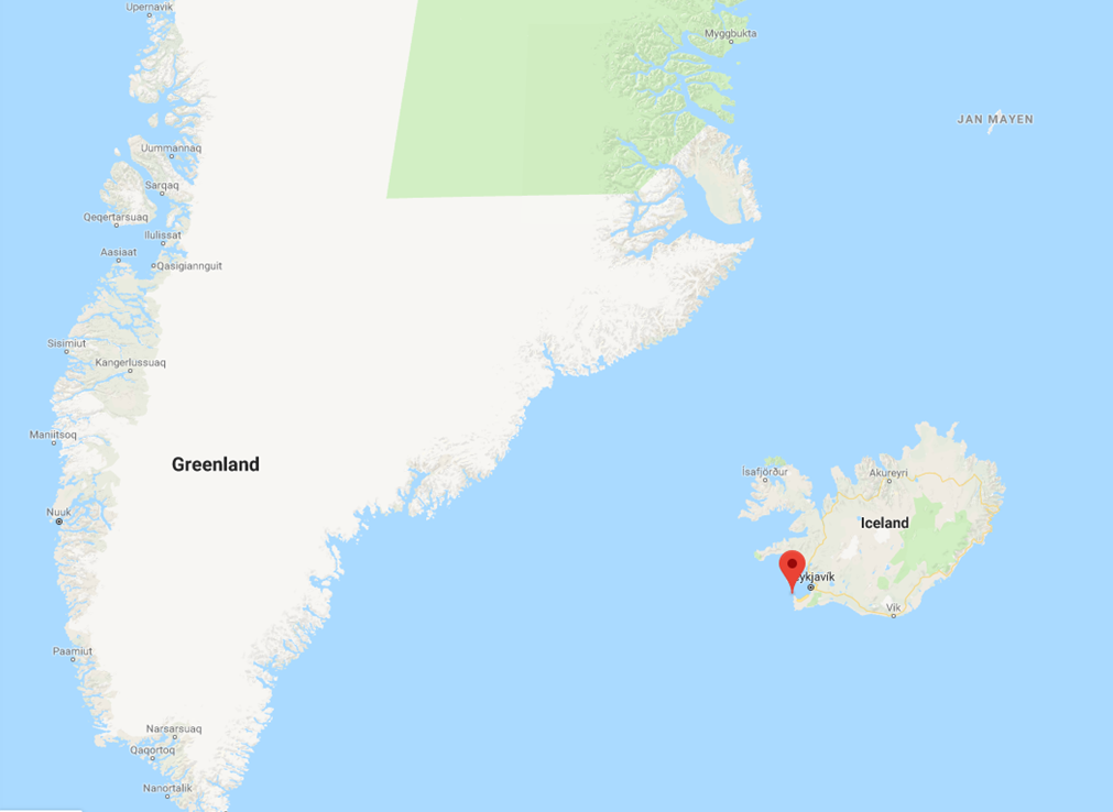 The location, Sandgerði in Iceland, where the boat was recovered