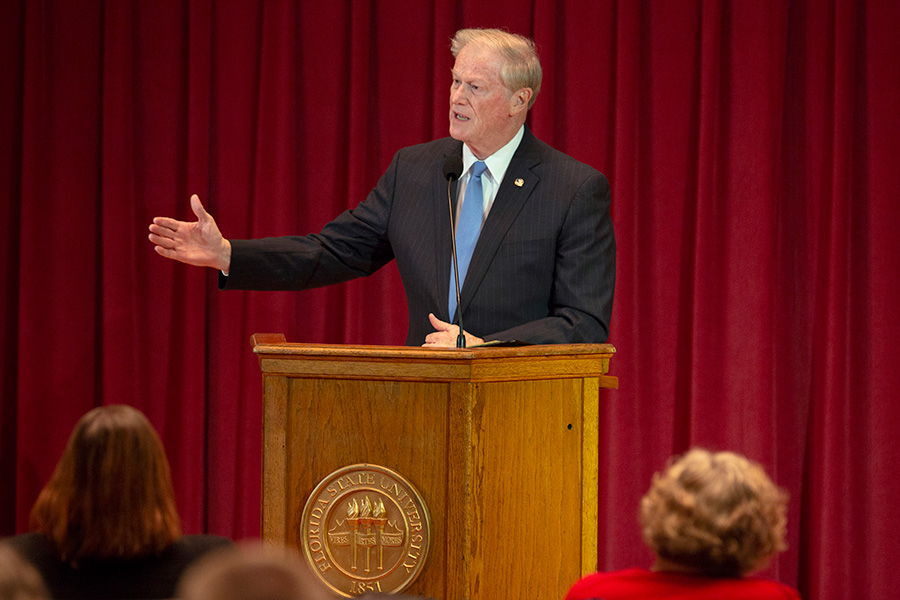 President John Thrasher delivers the State of the University address to the FSU Faculty Senate Wednesday, Dec. 5, 2018. (FSU Photography Services)