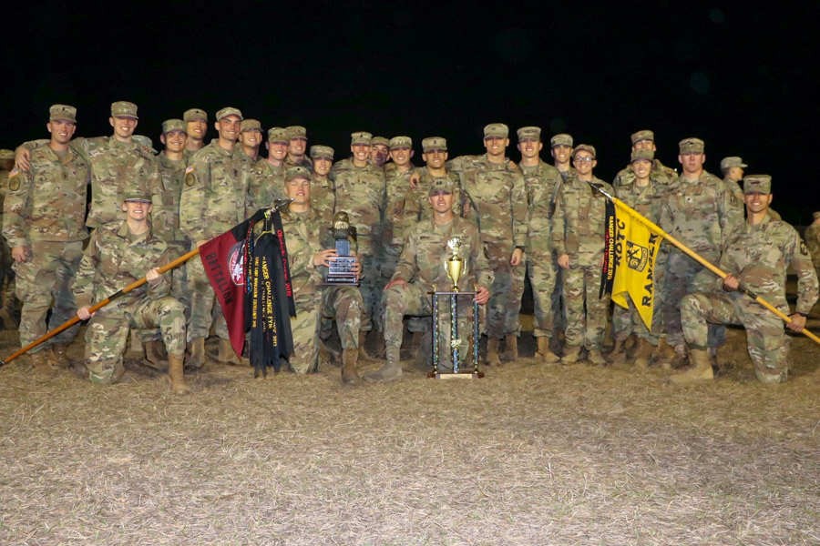 FSU Army ROTC students trained with each other in the months leading up to the Ranger Challenge at Camp Blanding, Florida. One team earned top honors at the regional competition, which attracted more than 400 students from nearly 40 universities.