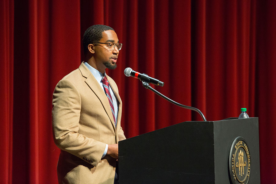 FSU Student Body Vice President Brandon Brown introduces keynote speaker. (FSU Photo/Bill Lax)