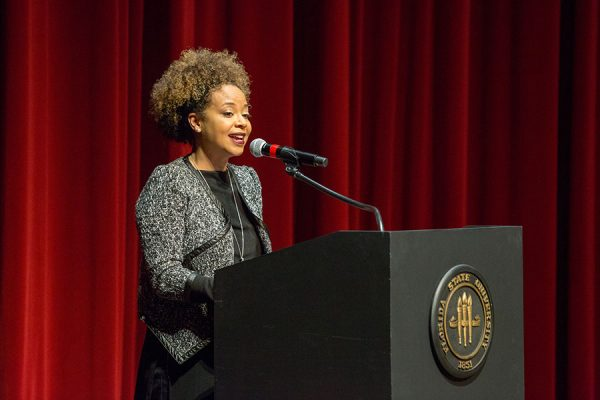2018 Faculty Recipient Joedreka Brown Speights presented the 2019 Dr. Martin Luther King, Jr. Distinguished Service Awards. (FSU Photo/Bill Lax)