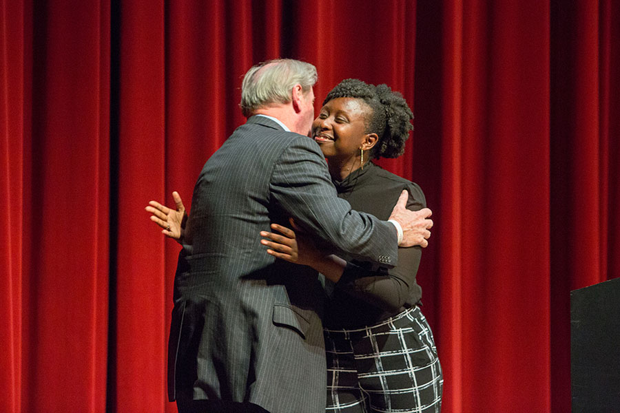 FSU Student Body President Stacy Pierre introduced President John Thrasher. (FSU Photo/Bill Lax)