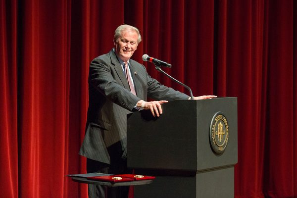 FSU President John Thrasher offered words of welcome. (FSU Photo/Bill Lax)