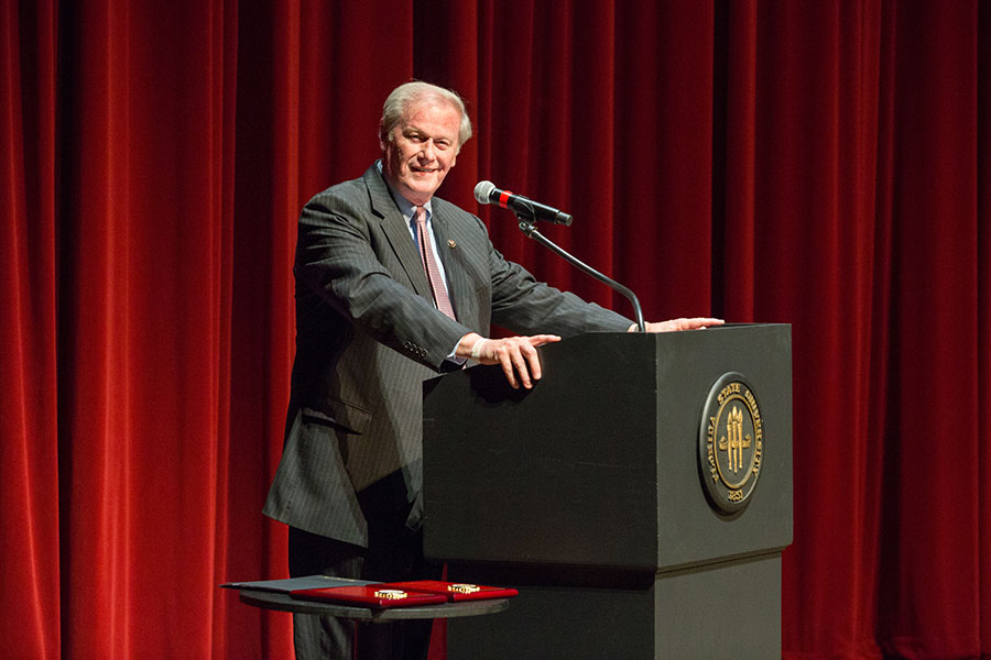 FSU President John Thrasher offered words of welcome. (FSU Photo/Bill Lax)