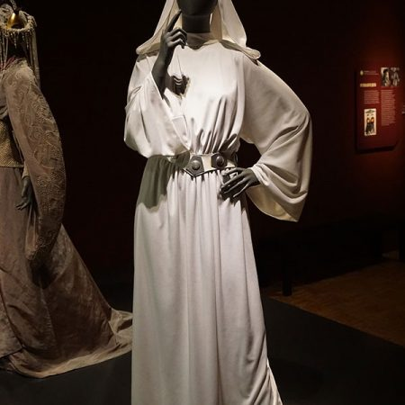 Princess Leia's white gown from Star Wars: Episode V – The Empire Strikes Back on display at the Star Wars and the Power of Costume traveling exhibit at the Detroit Institute of Arts in Detroit, Michigan. (Wikipedia)
