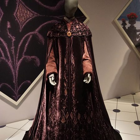 Padmé Amidala's veranda sunset gown from Star Wars: Episode III – Revenge of the Sith on display at the Star Wars and the Power of Costume traveling exhibit at the Detroit Institute of Arts in Detroit, Michigan. (Wikipedia)