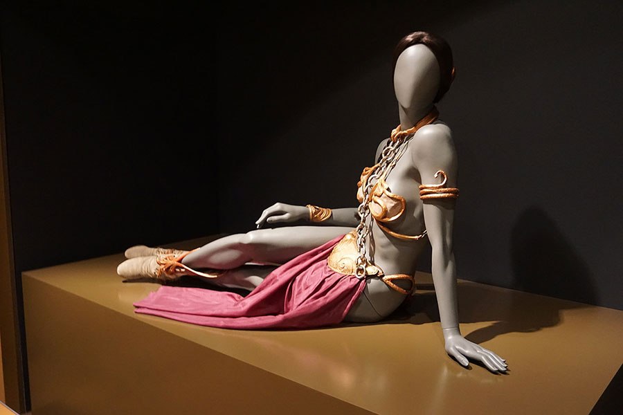Princess Leia's slave costume from Star Wars: Episode VI – Return of the Jedi on display at the Star Wars and the Power of Costume traveling exhibit at the Detroit Institute of Arts in Detroit, Michigan. (Wikipedia)