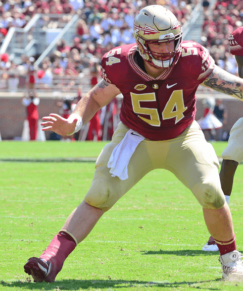 Former FSU center Alec Eberle digs in with the help of the TayCo brace.