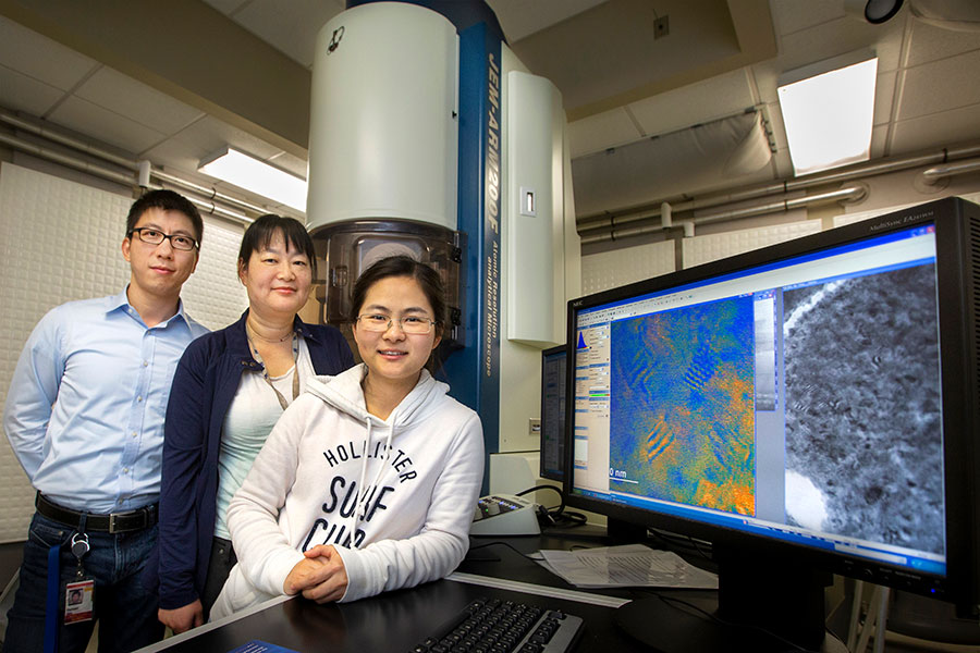 Assistant Professor Hanwei Gao, MagLab researcher Yan Xin and FSU doctoral student Xi Wang discovered a way to stabilize color being emitted from a next-generation material called a halide perovskite.