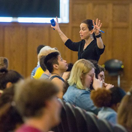 Marie Dennis, a teaching faculty member in the FSU Department of Biological Science, is using strategies shared by the Center for the Advancement of Teaching in her large lecture classroom.