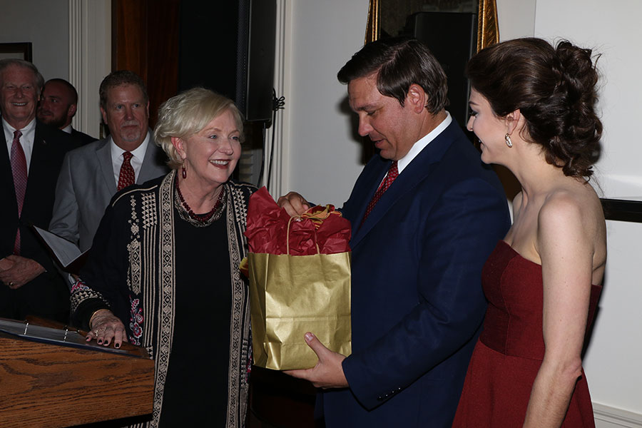 FSU First Lady Jean Thrasher, Gov. Ron DeSantis and Florida First Lady Casey DeSantis at the Florida Governor's Mansion Wednesday, March 13, 2019. (Photo: Ryals Lee)