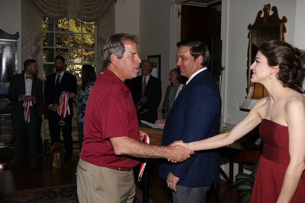 FSU head soccer coach Mark Krikorian and Florida First Lady Casey DeSantis at the Florida Governor's Mansion Wednesday, March 13, 2019. (Photo: Ryals Lee)