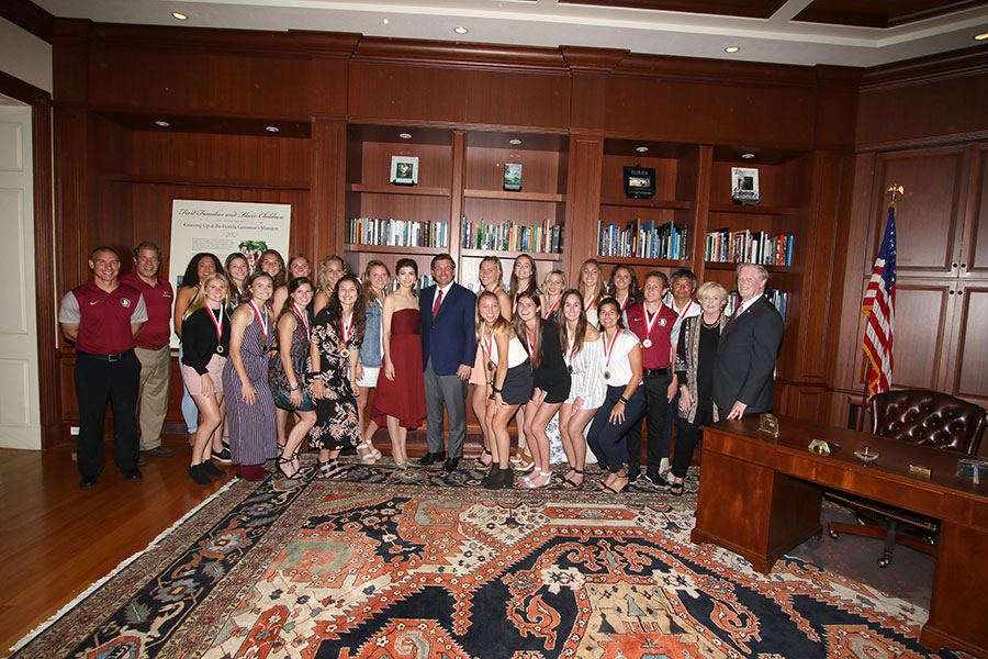FSU's NCAA champion soccer team visits the Florida Governor's Mansion Wednesday, March 13, 2019. (Photo: Ryals Lee)