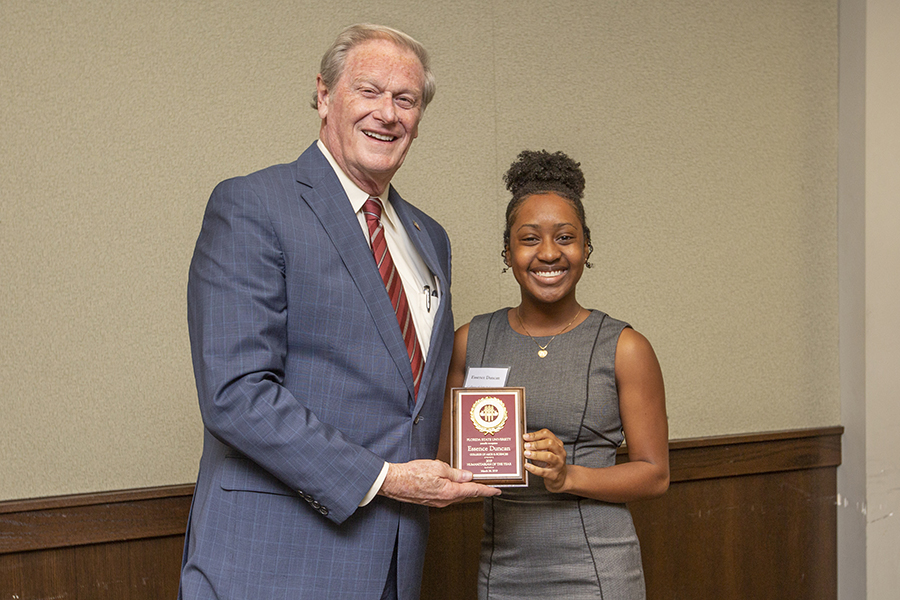 President John Thrasher and Essence Duncan at the 2019 Humanitarian Luncheon, Tuesday, March 26. (FSU Photography Services)