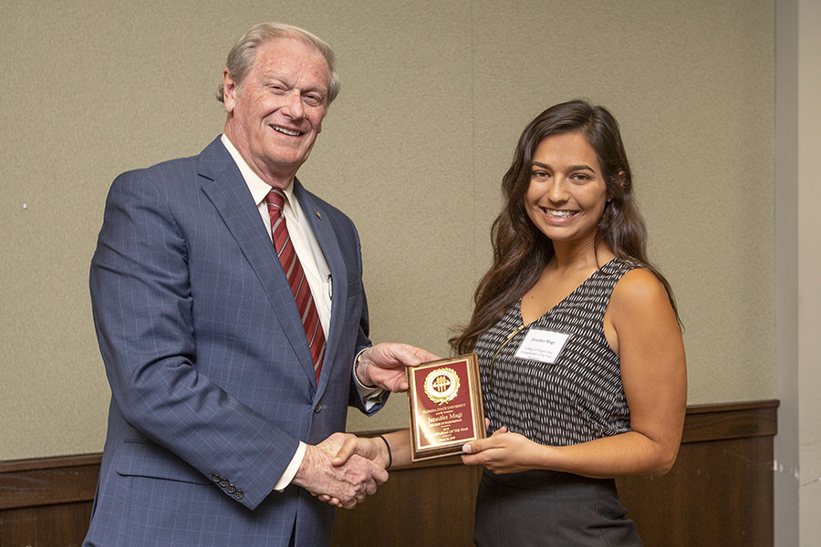 President John Thrasher and Jennifer Magi at the 2019 Humanitarian Luncheon, Tuesday, March 26. (FSU Photography Services)