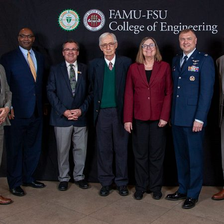 The FAMU-FSU College of Engineering and researchers and engineers from Eglin Air Force Base celebrated the beginning of a new partnership Monday to train undergraduate students in areas critical to the U.S. Air Force. From left: (L to R): David Lambert, AFRL; Maurice Edington, FAMU provost; Dean Murray Gibson; Charles Weatherford, FAMU; Sally McRorie, FSU provost; Col. Garry Haase, AFRL Directorate; Gary Ostrander, FSU Vice President for Research.