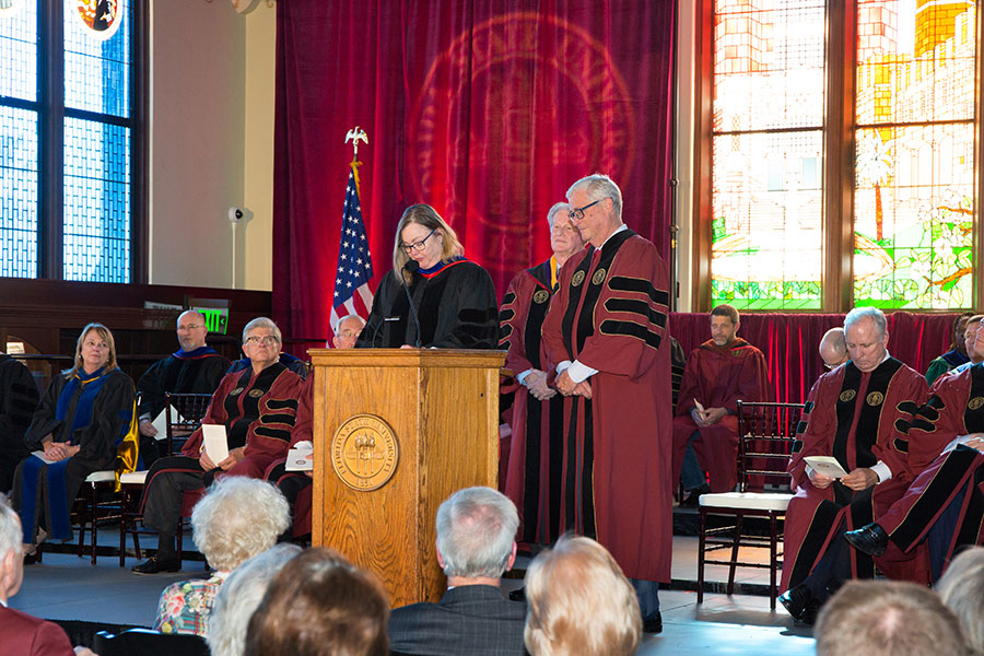 Provost Sally McRorie reads the citation during the presentation of the Honorary Degree. (FSU Photo/Bill Lax)