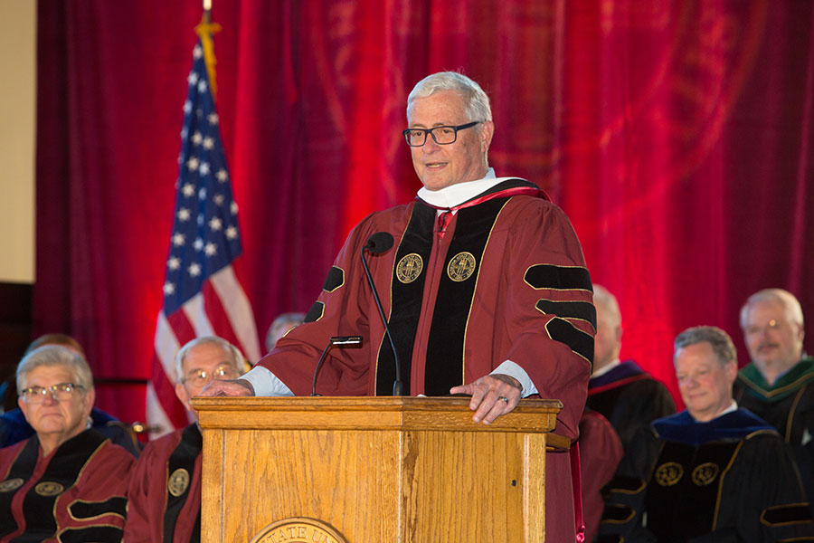 Bense received the honorary degree during a ceremony in FSU's Heritage Museum surrounded by family, friends and state leaders. (FSU Photo/Bill Lax)