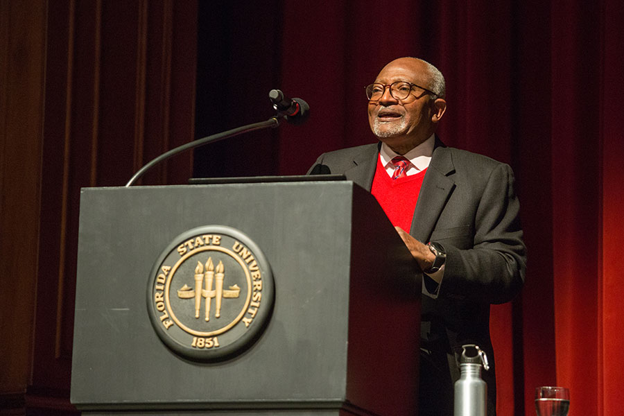 "Robert Bullard, a noted scholar and author, often described as ""The Father of Environmental Justice,"" visited Florida State University Wednesday, March 6. (FSU Photo/Bill Lax)"