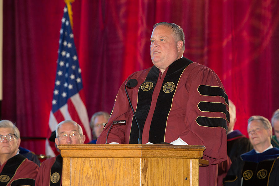 Mike Cazalas, managing editor of the Panama City News Herald served a guest speaker. (FSU Photo/Bill Lax)
