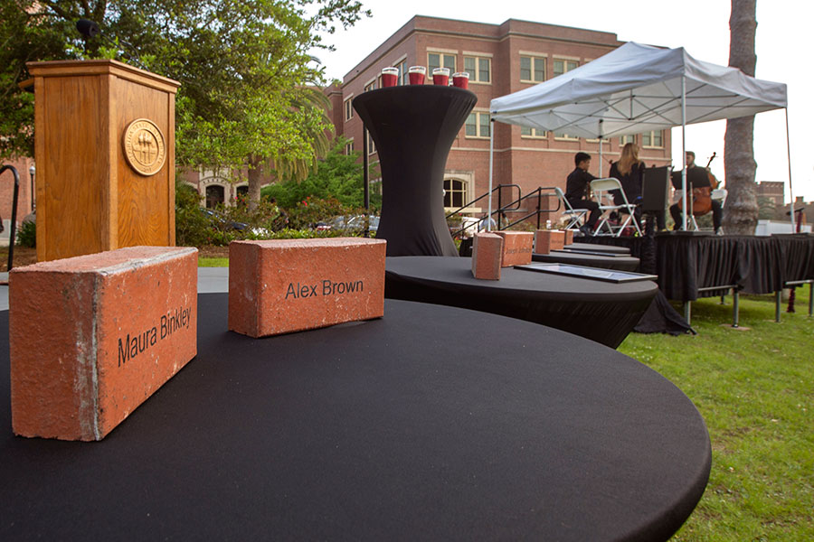 A brick with each student's name was be placed in the Memorial Garden. (FSU Photo/Bruce Palmer)