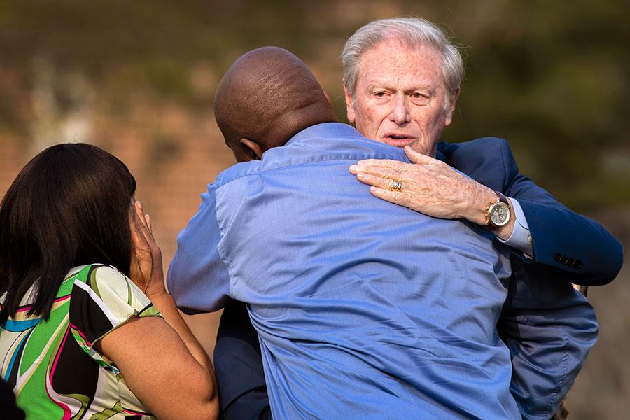 President Thrasher embraces loved ones. (FSU Photo/Bruce Palmer)