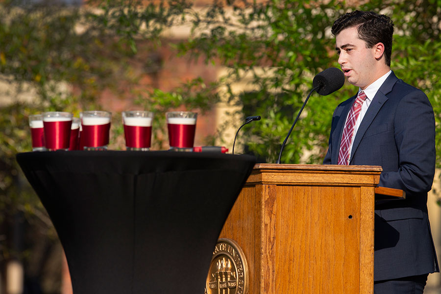 Student Body President Evan Steinberg urged his fellow students to be grateful. (FSU Photo/Bruce Palmer)