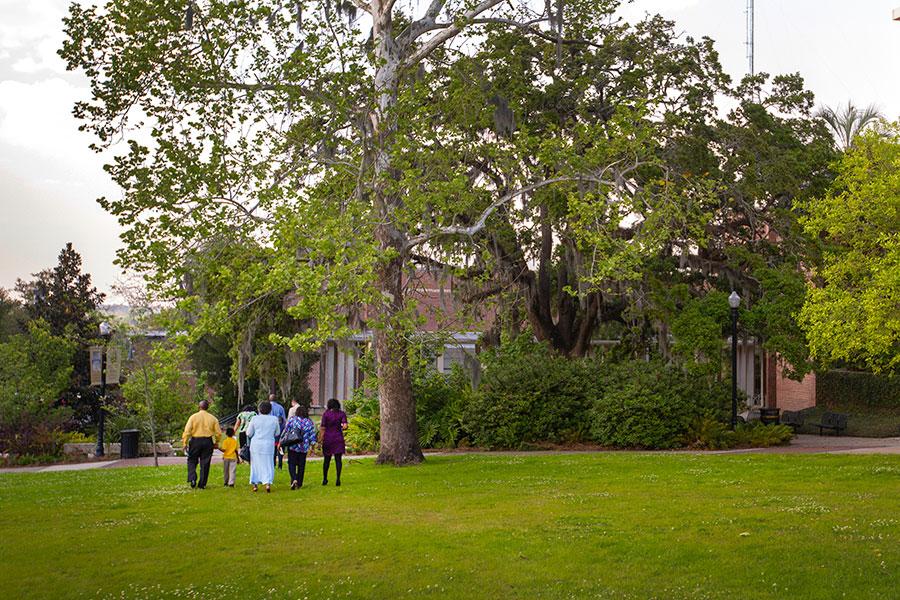 Loved ones walk to Memorial Garden. (FSU Photo/Bruce Palmer)