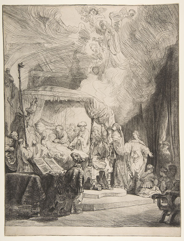 """Dr. Morton Mower and former FSU graduate student Lesley Wolff offered a new look at Rembrandt's """"Death of a Virgin."""""""
