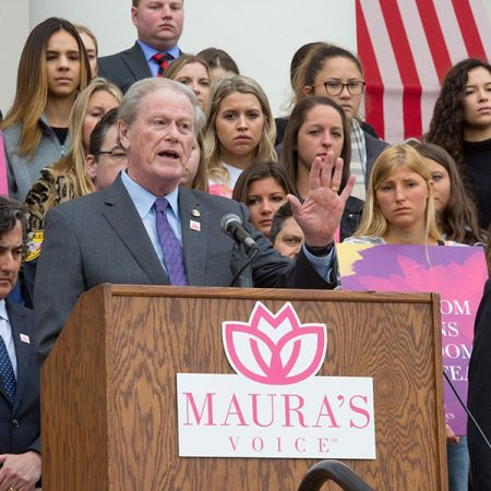 FSU President John Thrasher addressed those gathered for the launch of Maura's Voice, Monday, March 4, on the steps of the Florida Historic Capitol Museum. (FSU Photography Services/Bill Lax)