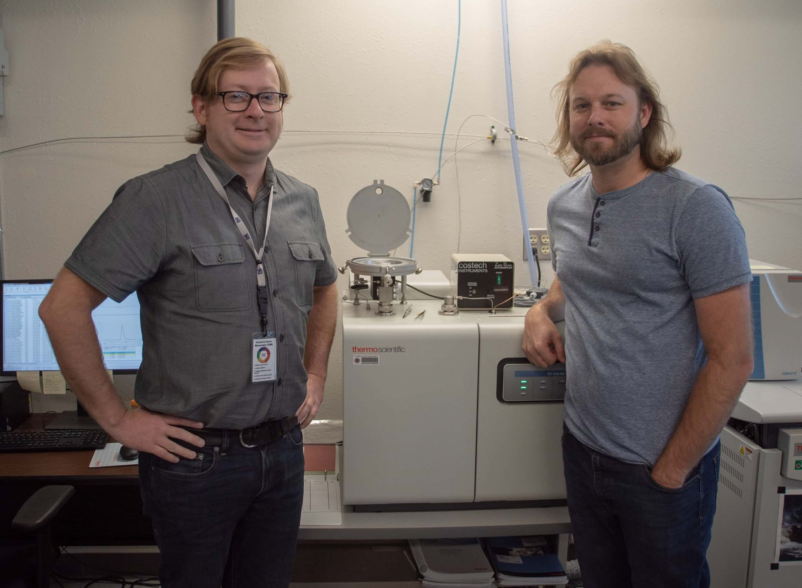 Seth Young (left) and Jeremy Owens (right), assistant professors in the Department of Earth, Ocean and Atmospheric Science
