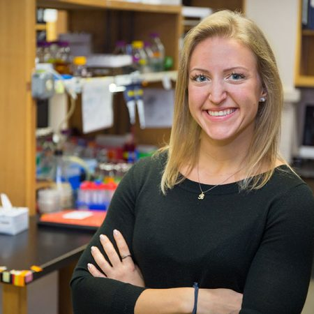 Bailey Koch is a doctoral student in the lab of Associate Professor Hong-Guo Yu.