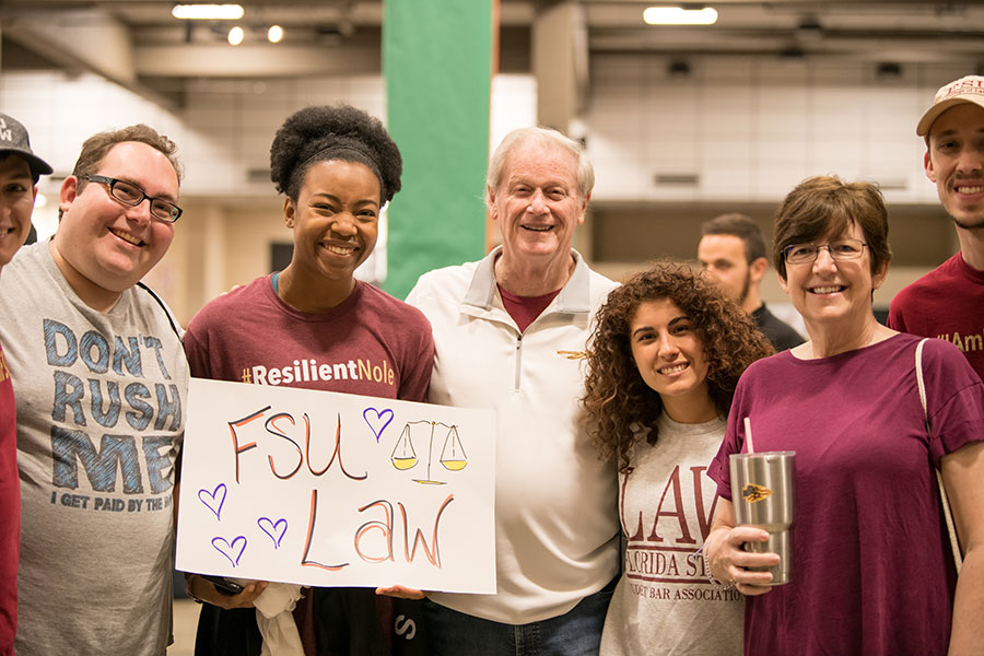 FSU College of Law students with President thrasher at The Big Event kickoff ceremony. (Charlene Trickey-Thompson)