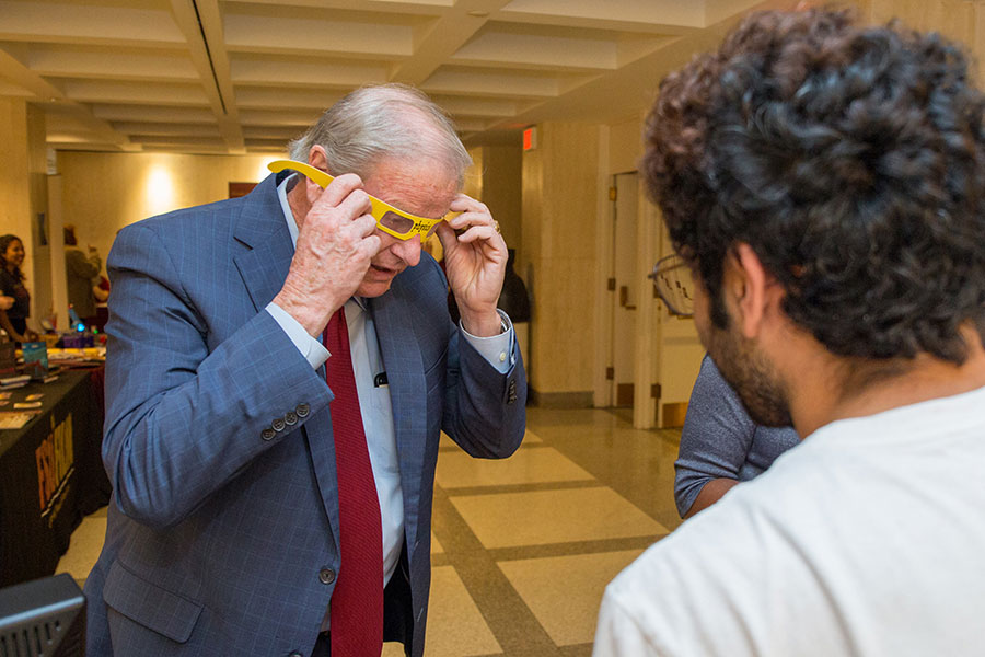 President John Thrasher visits the display tables at FSU Day at the Capitol Tuesday, April, 9, 2019. (FSU Photography Services)